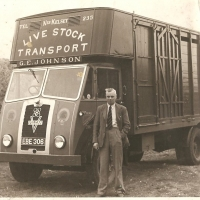 A young George Johnson with Livestock Vehicle